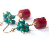 Turquoise and Pink Cluster Earrings Gold Wire Wrapped Earrings, Gemstone Earrings, Turquoise Magnesite and Pink Agate, Summer Earrings, OOAK - coalescencedesign