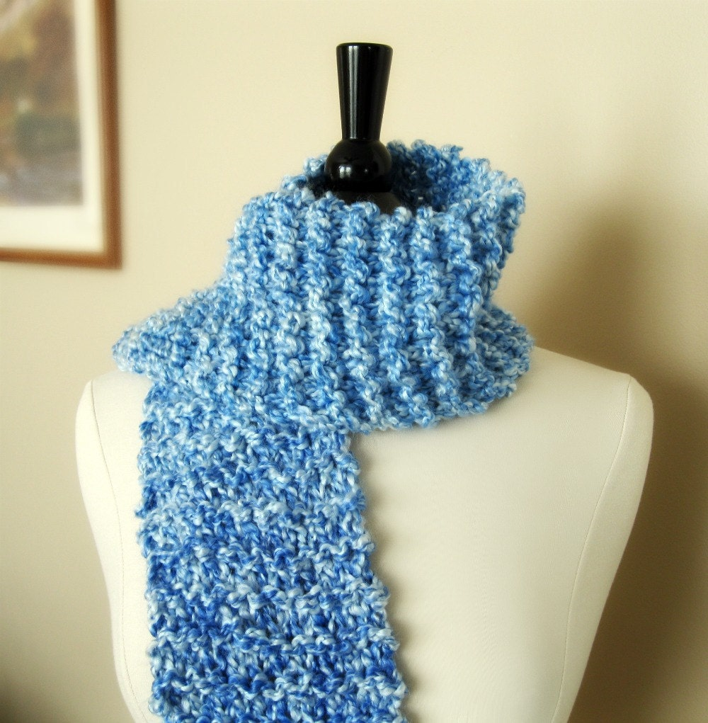 Winter scarves for women neck scarf hand knitted acrylic periwinkle  Neck Scarves For Women