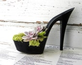 Floozy. reclaimed black stiletto heel succulent planter - giddyspinster