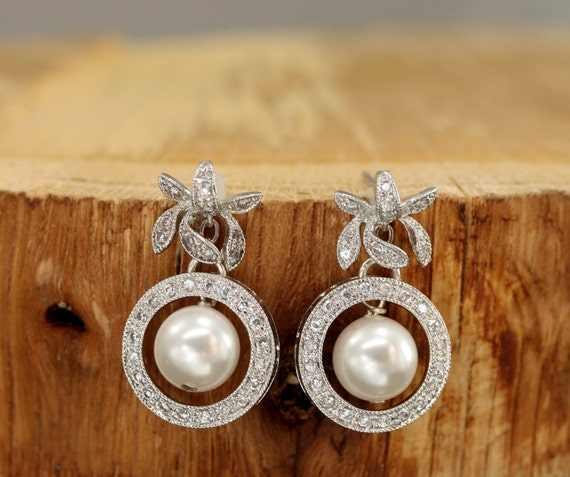 Pearl Drop Earrings, Stud Earring Bridal, Pearl Bridal Earrings, Vintage Style Wedding Jewelry, Wedding Earrings