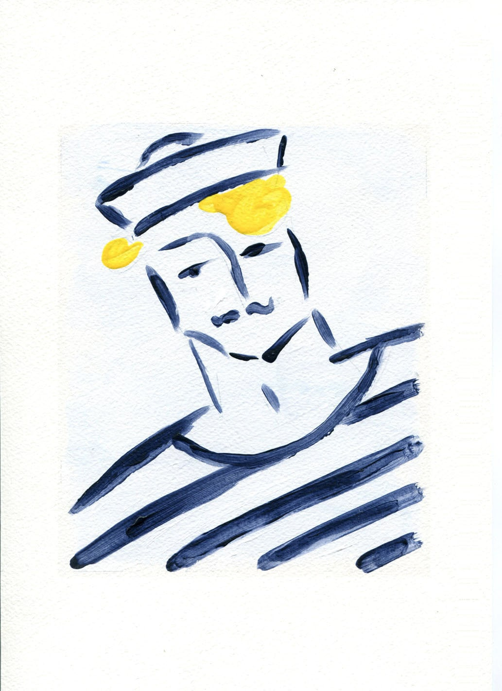 Sailor Boy art Print of original Acrylic painting by TheJoyofColor