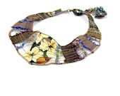 Collar Bib Necklace Fiber Necklace Textile Necklace in Earthy Beige, Taupe, Blue and Purple with Recycled Silk - Fibernique