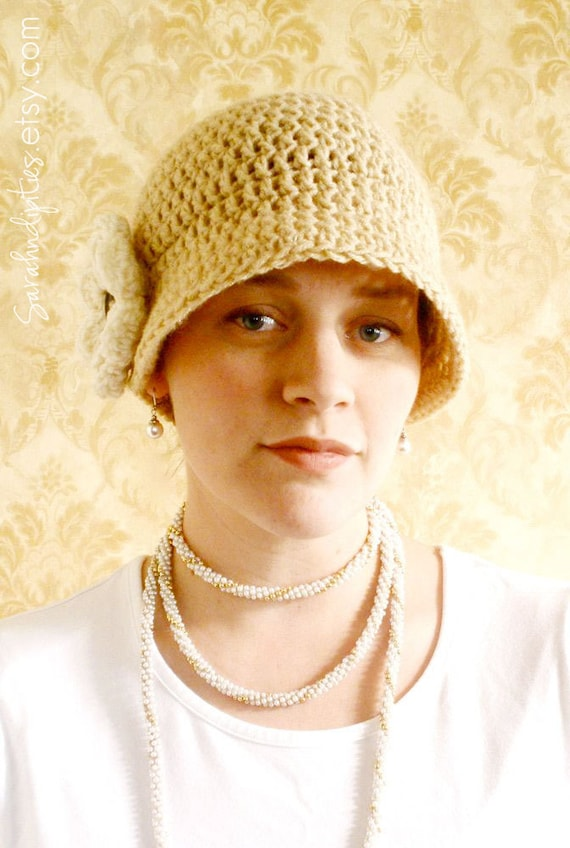 CROCHET PATTERN - Crochet Flapper Hat with Flower - Sell What You Make