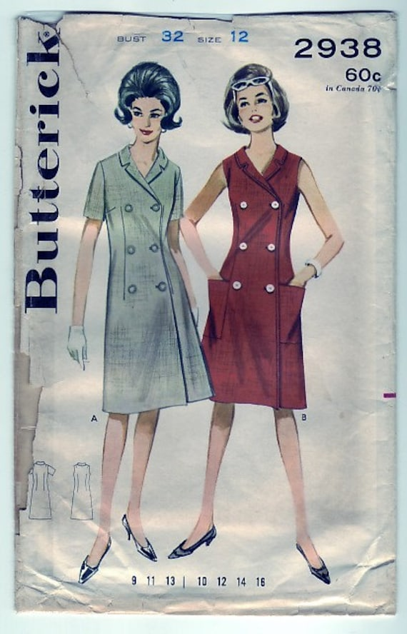 FREE SHIPPING Vintage 1963 Butterick 2938 Sewing Pattern Juniors' and Misses' A-Line Dress Size 12 Bust 32