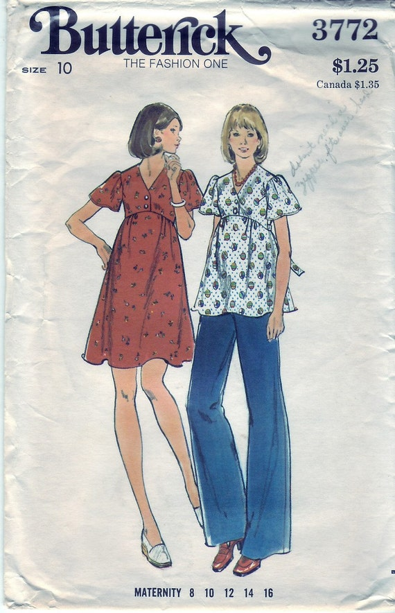 Vintage 1974 Butterick 3772 Sewing Pattern Misses' Maternity Dress, Top and Pants Size 10 Bust 32-1/2