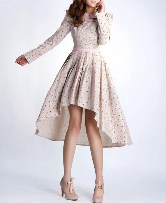 Linen dress . floral woman maxi dress (0038)