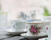 Tea cup with rose - 6 x 6 fine art photography print