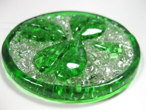 Crushed Glass Suncatcher, Shamrock Green Clover, Recycled Wine Bottles