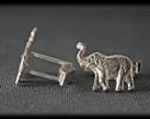 Mens Jewelry Cuff Links Sterling Silver Elephant Trunk Up Good Luck