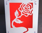 Cut Paper Valentine Red Rose Silhouette Greeting card - arwendesigns