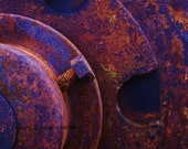 Fine art photographic print, abstract machinery macro, many circular layers, cogs bolts and rust, ultra-violet, 8x10 print - cherryblossomtattoo