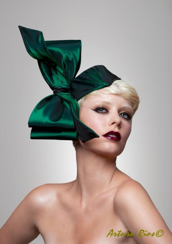 giant bow headpiece in green