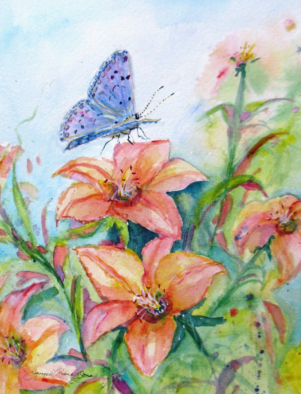 impressionism butterflies flowers original by JaniceTraneJones