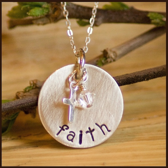 Hand Stamped sterling FAITH necklace with cross charm customized by tag youre it jewelry on etsy