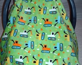 Lime Green Excavator's Minky Baby Carrier Cover/Tent and Carrier Blanket Set