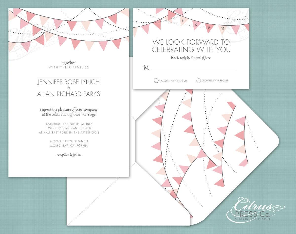 Bunting Wedding Invite: Banner / Bunting Wedding Invitation On Pinterest