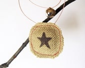 Rustic Star Ornament - Burlap Plush with Copper Wire and Jingle Bell - NimbuRu