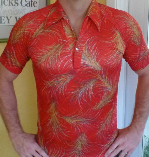 Vintage disco shirt - short sleeve red burts polyester - size medium