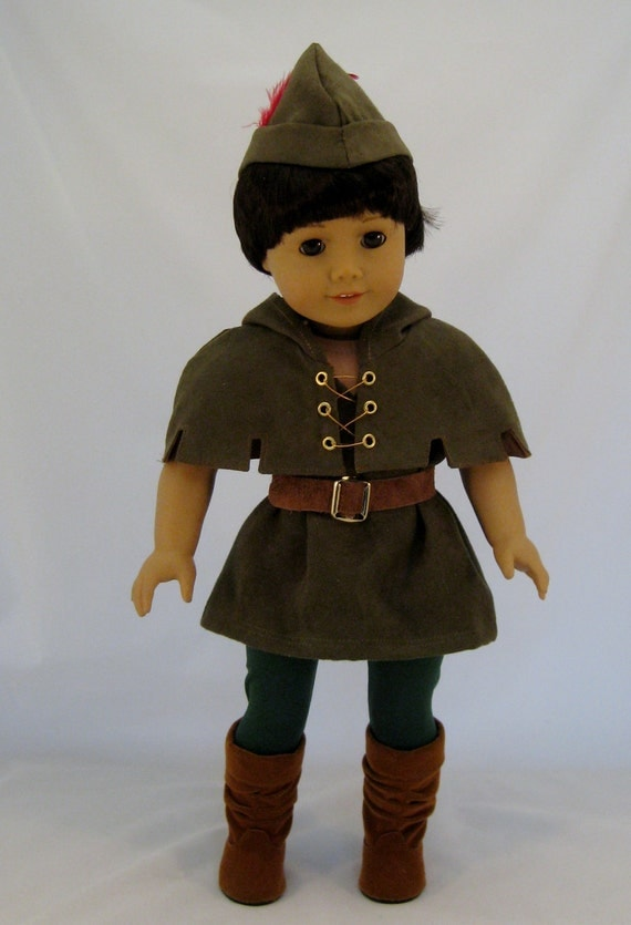 Robin Hood costume sized to fit American Girl or other 18 inch Dolls