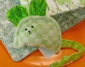 "Plush Toy Mouse - Minky Mousie with Cuddle Quilt - Green Minky and Flannel - ""ZOLA"" - CoolTricks"