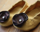 Ballet Slippers - Mustard with Brown Satin Flower - mybellababy