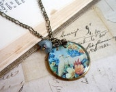 SALE Necklace Pendant . Dove Bird Illustration . Blue Green Flowers . Vintage Style . Bow Charm . Love Birds . by Paper and Ribbons - papernribbons