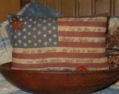 Primitive American Flag tuck pillow
