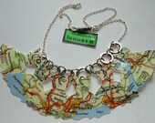 Paper Dresses Recycled Map Necklace Handmade By Recycloanalyst