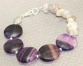 Purple Gray Bracelet. Fluorite and Labradorite Semi Precious Gemstone Circle Bracelet