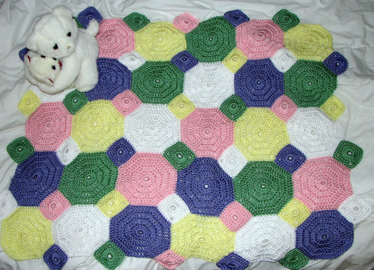 Octagon Baby Afghan Crochet Pattern : Items similar to Octagon Baby Afghan on Etsy