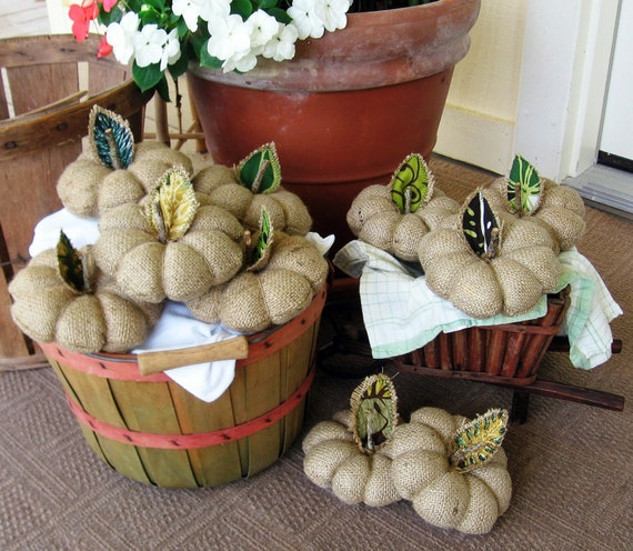 Burlap Pumpkin. Fall, Autumn, Thanksgiving, Halloween Decor. Pin Cushion. Upcycled. Eco Friendly. Handmade in Hawaii. Ready to Ship.