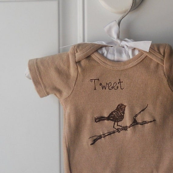 Tweet bird on branch cotton baby onesie in peachy tan or custom colors