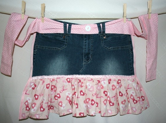 Denim Recycled Apron - Pink Ribbon Breast Cancer Awareness