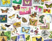 50 Butterfly postage stamps - Vintage postage stamps for scrapbooking - collage - card making - artypharty