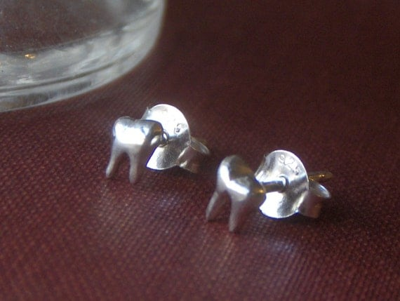 Sterling Silver Molar Tiny Stud Earrings