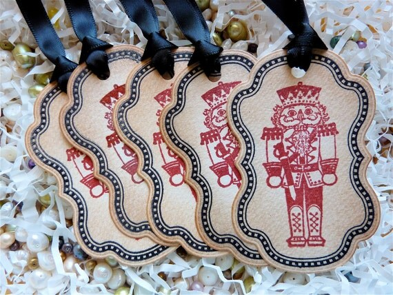 Nutcracker Toy Soldier Christmas Holiday Gift Tags Labels Vintage Style Set of Five