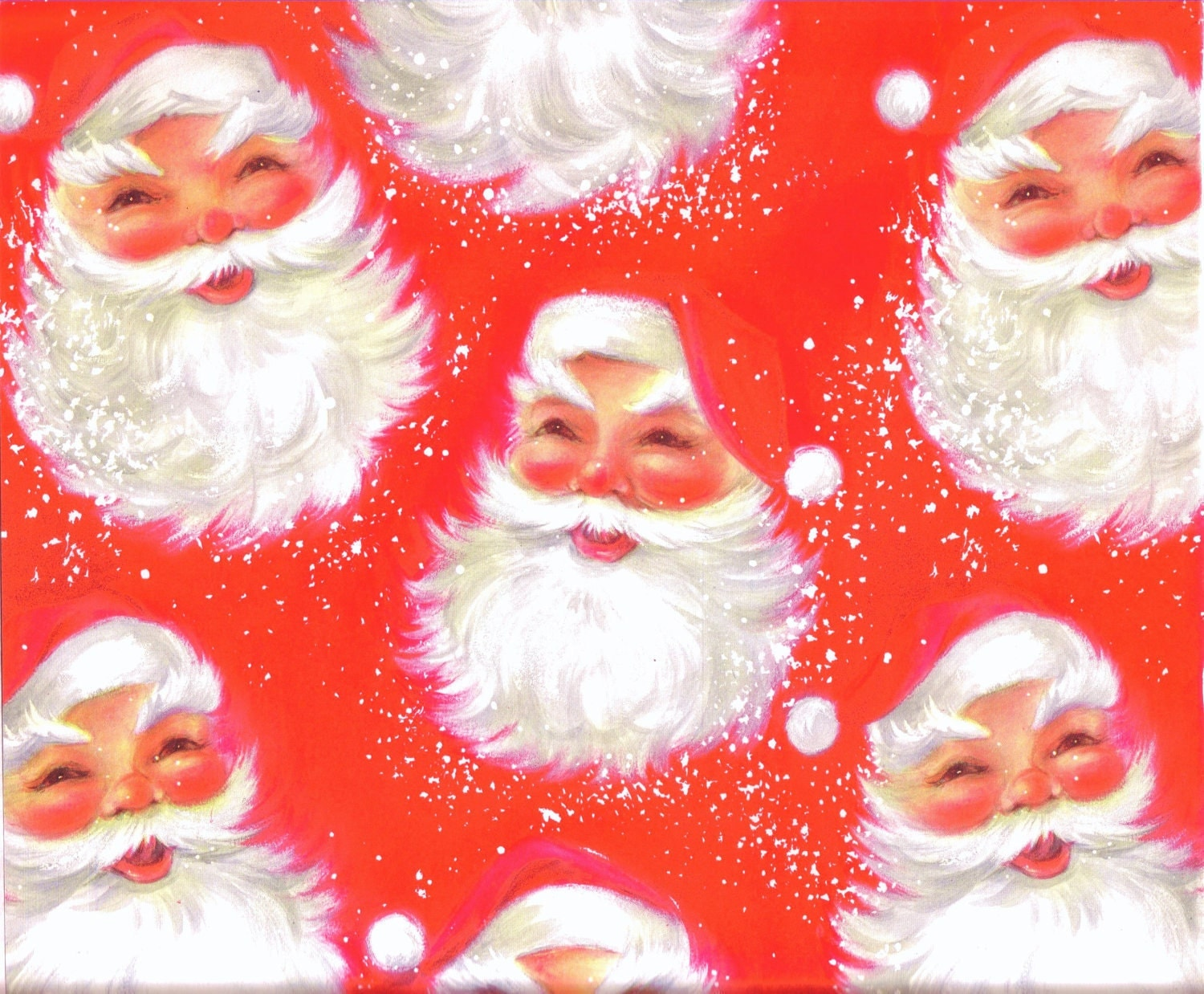 Pin wrap wrapping paper santa heads vintage cake picture to pinterest
