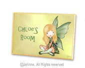 Children room door sign personalized name green yellow fairy angel girls customized gift