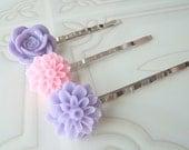 Flower Bobby Pins  Purple Bobby Pins  Pink Slide Pins  Set of Hair Pins - LyndieGirl