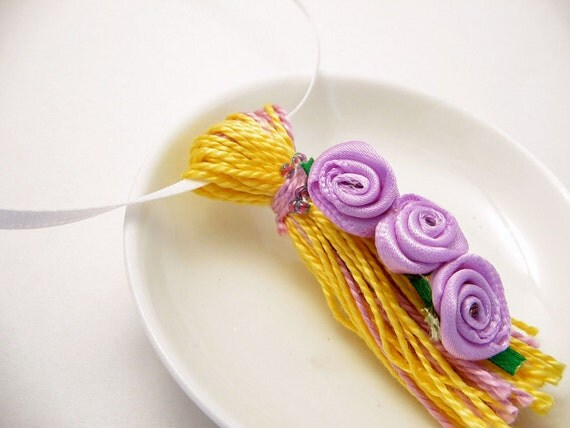 Purple Roses on Yellow and Purple Tassel