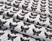 Cotton Fabric: Half Moon Butterfly Fabric in Black and White Cotton - 1 YD - FabricFascination