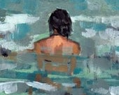 Undertow . large giclee art print poster from acrylic painting of woman in the sea - tastesorangey