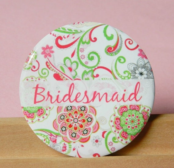 Pocket Mirror - Pink and Green Bridesmaid Personalized Mirror, Bridesmaid Gift, Wedding Favor, Party Favor Compact Mirror