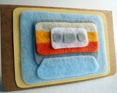 Felt Mix-Tape Journal - The Sunset - Sky Blue and Orange Eco-Felt embellished Moleskine notebook
