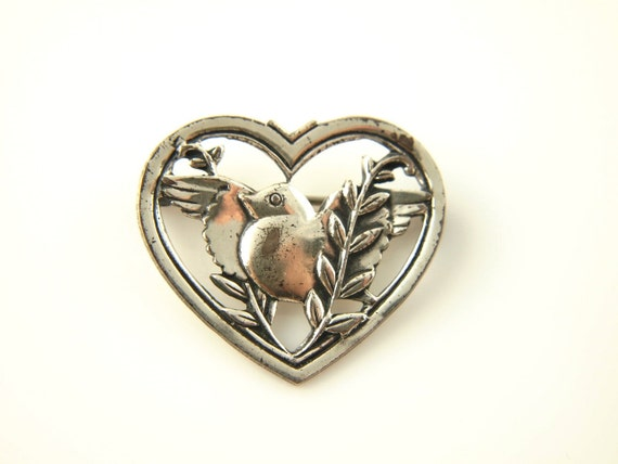SALE: Coro Sterling Bird Heart Brooch - Vintage