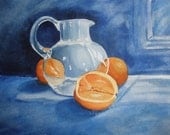 Oranges and Glass Pitcher - Giclee Print