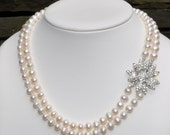 Stunning Bridal Wedding Necklace Brooch Style Hand Knotted Freshwater Pearl Necklace with Amazing Rhinestone Flower Clasp