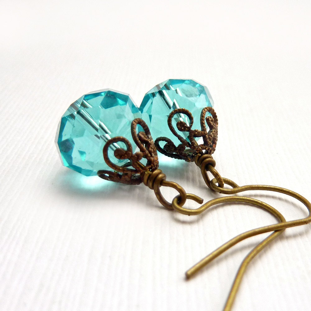 Aquamarine Earrings on Aqua Beaded Earrings  Aquamarine Jewelry  Bronze Filigree  Petite
