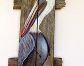 Pelican Hand Painted on Reclaimed Fence Boards (Custom Order Only) - roseartworks