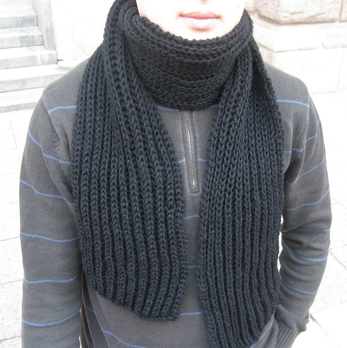 Sale 40 Black Hand Knit Wool Scarf for MEN best gift for Him Hand Knitted Scarves For Men